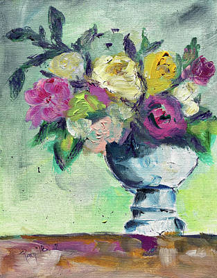 Pink Painting - Soft Roses by Roxy Rich