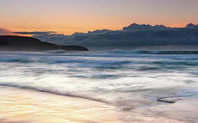 Photograph - Soft Sunrise Seascape And Cloudbank by Merrillie Redden