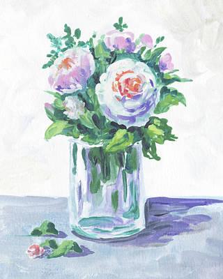 Painting - Soft Tones Flowers Bouquet Floral Impressionism  by Irina Sztukowski