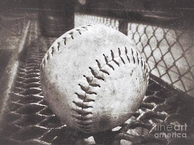 Photograph - Softball On The Bench In Sepia by Leah McPhail
