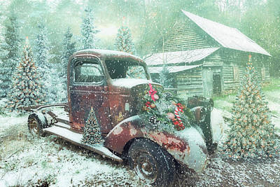 Photograph - Softly Snowing At Christmastime At A Country Farm by Debra and Dave Vanderlaan