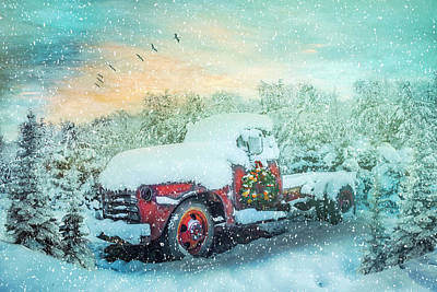Photograph - Softly Snowing Christmas Chevy Pickup Truck In The Snow by Debra and Dave Vanderlaan
