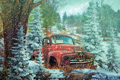 Photograph - Softly Snowing Christmas Eve On A Country Road by Debra and Dave Vanderlaan