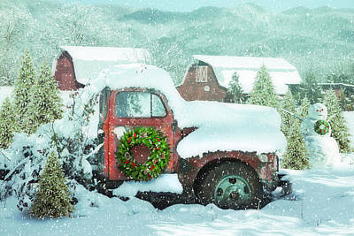 Photograph - Softly Snowing Christmas Snowfall In The Mountains by Debra and Dave Vanderlaan