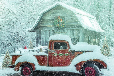 Photograph - Softly Snowing Ready For Christmas by Debra and Dave Vanderlaan