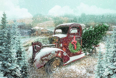 Photograph - Softly Snowing Winter Treasures At Christmastime by Debra and Dave Vanderlaan