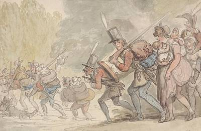 Drawing - Soldiers On A March by Thomas Rowlandson