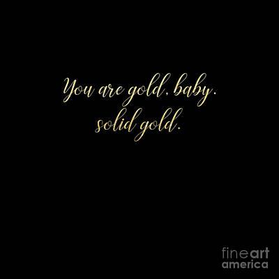 Digital Art - Solid Gold Glitter Text On Black by Sharon Mau