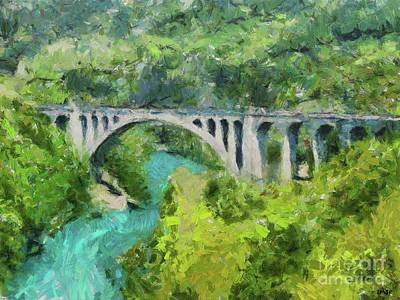 Landmarks Painting Royalty Free Images - Solkan Stone Bridge Over Soca River Royalty-Free Image by Dragica Micki Fortuna