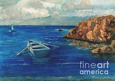 Painting - Solo Rowboat/ Rocks by Jose Breaux