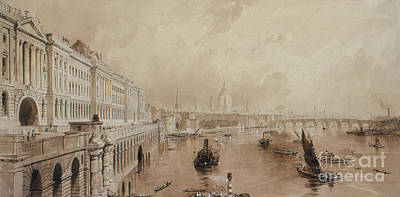 Drawing - Somerset House by Thomas Allom