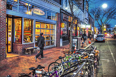 Photograph - Somerville Ma Davis Square Diesel Cafe At Blue Hour by Toby McGuire