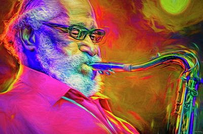 Jazz Mixed Media Royalty Free Images - Sonny Rollins Jazz Great Royalty-Free Image by Mal Bray
