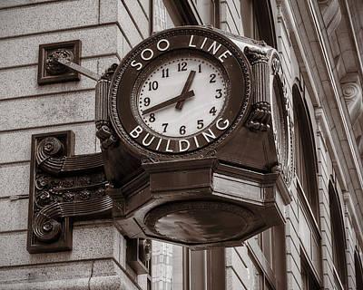 Marquette Wall Art - Photograph - Soo Line Building Clock by Jim Hughes