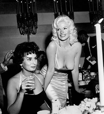Photograph - Sophia Loren And Jayne Mansfield by Michael Ochs Archives