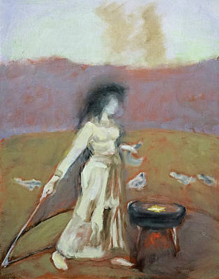Painting - Sorceress Casts the Magic Circle, after Waterhouse by Linda Falorio