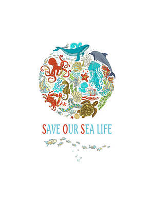 Reptiles Mixed Media - Save Our Sea Life by Amanda Lakey