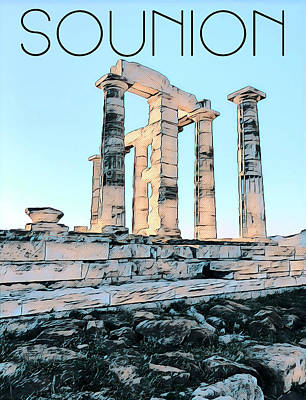 Digital Art - Sounion, In Love With The Med by Nicholas V K