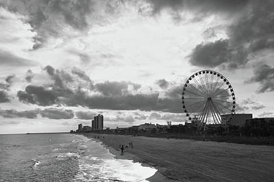 Photograph - South Carolina Coastline - Myrtle Beach Bw by Andrea Anderegg