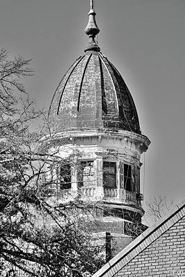 Photograph - South Carolina State Hospital Dome Black And White 3 by Lisa Wooten