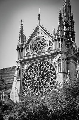Photograph - South Facade And Rose Window Of Notre-dame De Paris Before The Fire Of 2019 Bw by RicardMN Photography