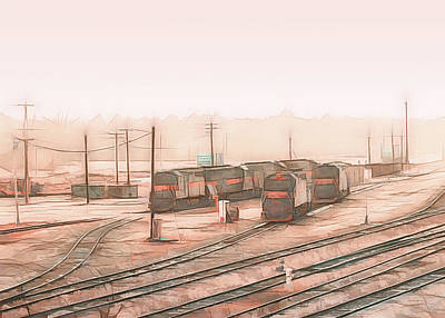 Painting - South Portland Trains by Bob Orsillo
