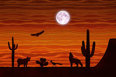 Digital Art - Southwest Desert Silhouette by Debi Dalio