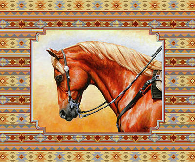 Western Art Mixed Media - Southwestern Quarter Horse Pillow by Crista Forest