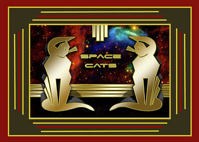 Digital Art - Space Cats - Border by Chuck Staley