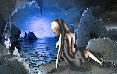 Digital Art - Space Fantasy Goddess Galaxy Ice Worlds Multimedia Digital Artwork by G Linsenmayer