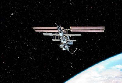 Photograph - Space Station In Earth Orbit by Steve Allen