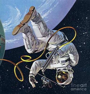 Test Pilot Wall Art - Painting - Space Walk by Angus McBride