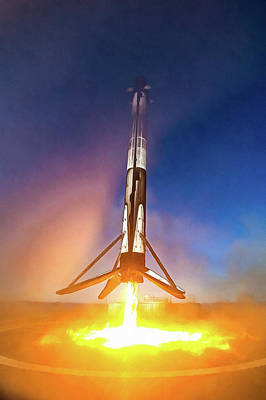 Art Print featuring the photograph Spacex Falcon 9 Precision Booster Landing by Matthias Hauser