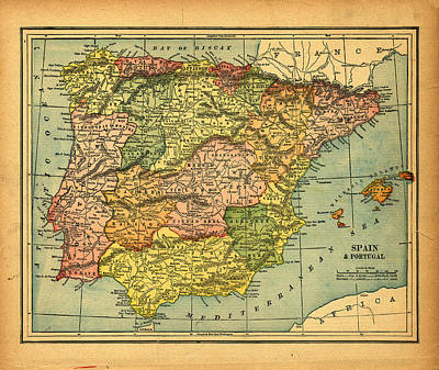 Spain Photograph - Spain & Portugal Vintage Map by Belterz
