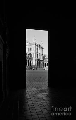 Photograph - Spain Square Portal In Monochrome by Angelo DeVal