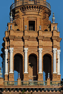 Photograph - Spain Square Tower Detail 2 In Seville by Angelo DeVal