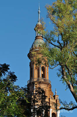 Photograph - Spain Square Tower Detail And Trees In Seville by Angelo DeVal