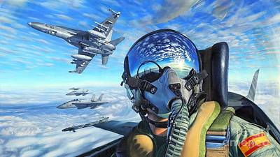 Surrealism Royalty-Free and Rights-Managed Images - Spanish McDonnell Douglas F/A-18 Hornet Squadron Ultra HD by Hi Res