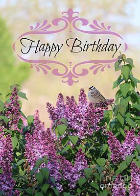 Photograph - Sparrow In Lilacs Birthday Card by Carol Groenen