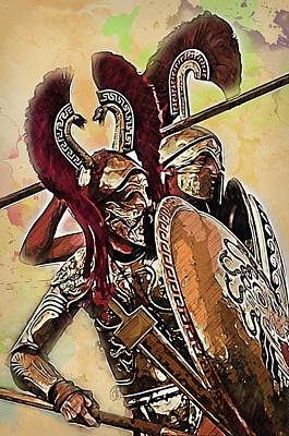 Painting - Spartan Hoplite - 34 by Andrea Mazzocchetti