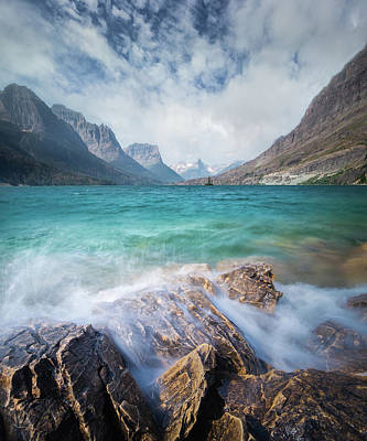 Photograph - Splash / St. Mary Lake, Glacier National Park  by Nicholas Parker