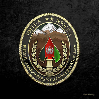 Digital Art - Special Operations Joint Task Force - Afghanistan -  Nsocc-a/sojtf-a Patch Over Black Velvet by Serge Averbukh