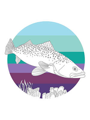 Digital Art - Speckled Trout On Oyster by Kevin Putman
