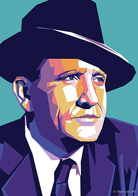 States As License Plates - Spencer Tracy Illustration by Stars on Art