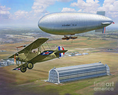 Digital Art Rights Managed Images - Sperry Messenger meets TC-3 over Scott Field Royalty-Free Image by Stu Shepherd