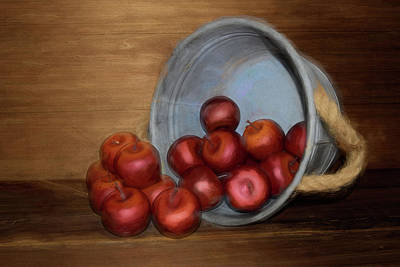 Mixed Media - Spilled Apples by Pamela Walton
