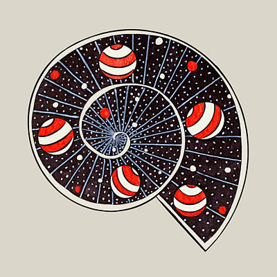 Science Fiction Drawings - Spiral Galaxy Snail With Beach Ball Planets by Boriana Giormova