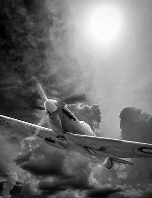 Colorful People Abstract Royalty Free Images - Spitfire in the Sun Black and White Royalty-Free Image by Philip Rispin