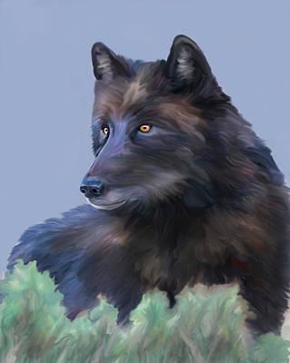 Digital Art - Spitfire Wolf 926f Yellowstone by Mark Miller