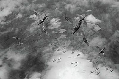 Digital Art - Spitfires Swoop Black And White Version by Gary Eason